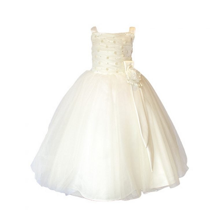 IVORY IS THE NEW BLACK (OR WHITE) when it comes to weddings. With a hint of cream, peach or yellow, ivory has more texture and warmth. The flower girl ivory dress market has exponentially grown in the last few years. Ivory dresses are the most requested.