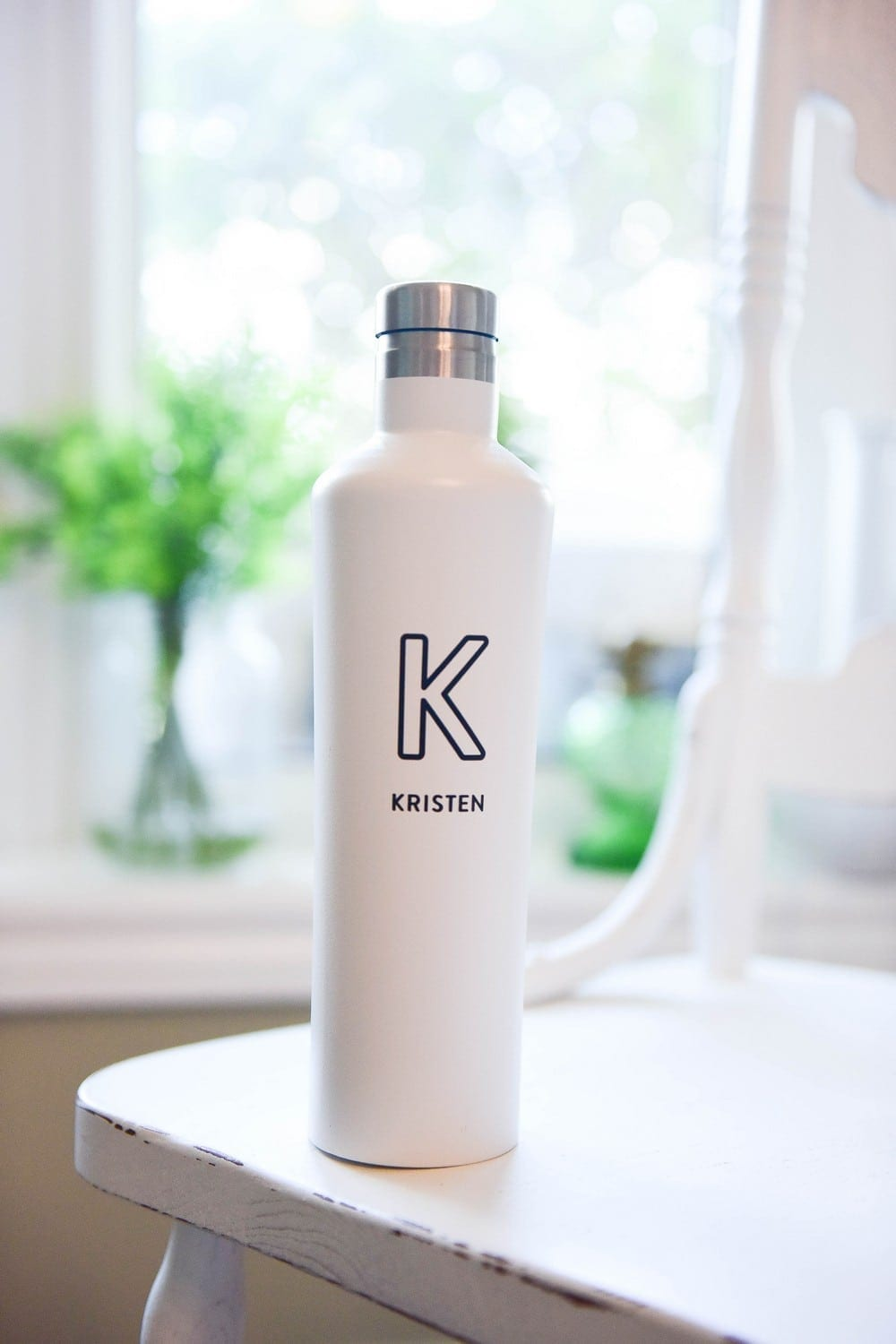 White Stainless Steel Water Bottle: $26 + $7 to personalize