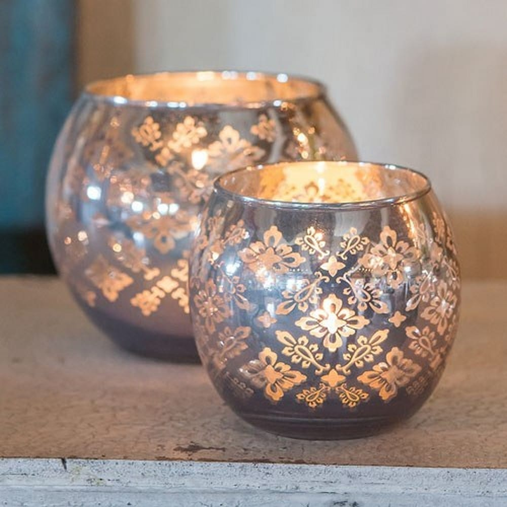 Large Glass Globe Votive Holder With Reflective Lace Pattern | $11.92 for 4