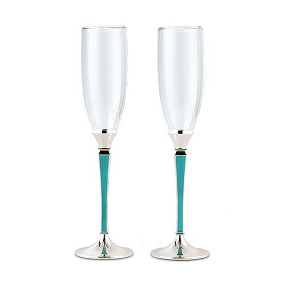 Wedding Champagne Glasses With Blue And Silver Stem | $29.98