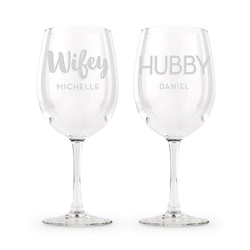 Large Personalized Wine Glass Set | $25