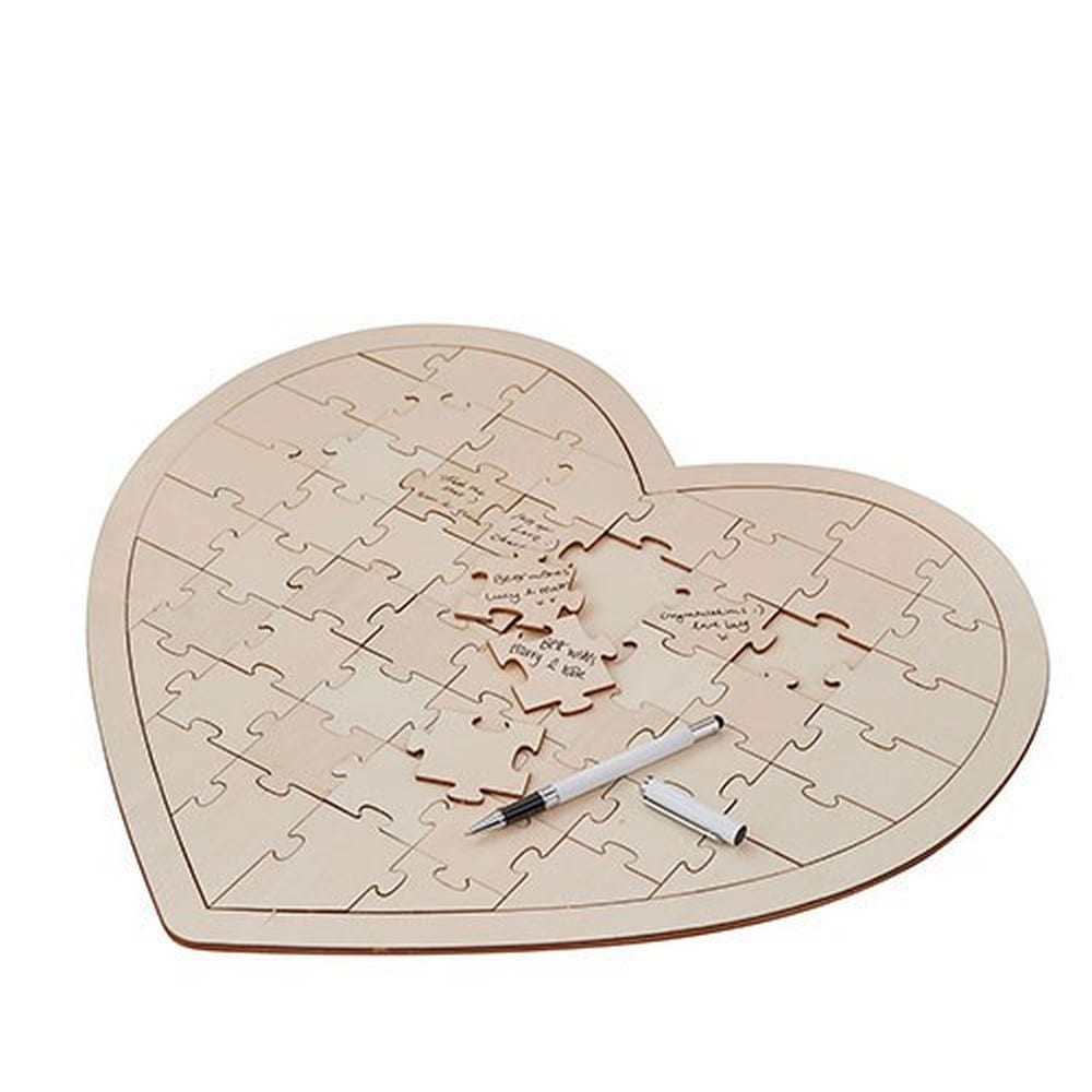 Wooden Heart Jigsaw Wedding Guest Book | $25