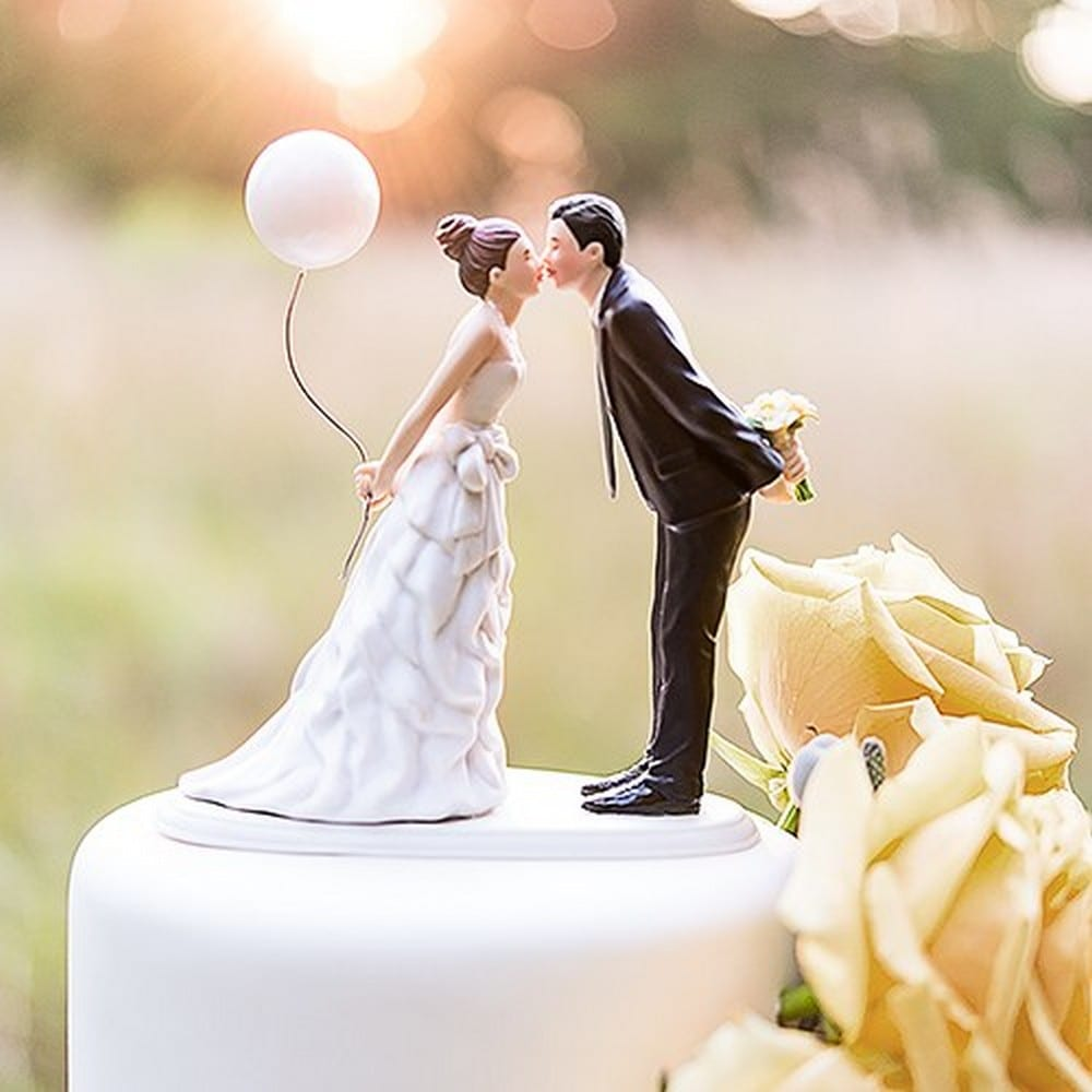 Leaning In For A Kiss - Balloon Wedding Cake Topper | $75