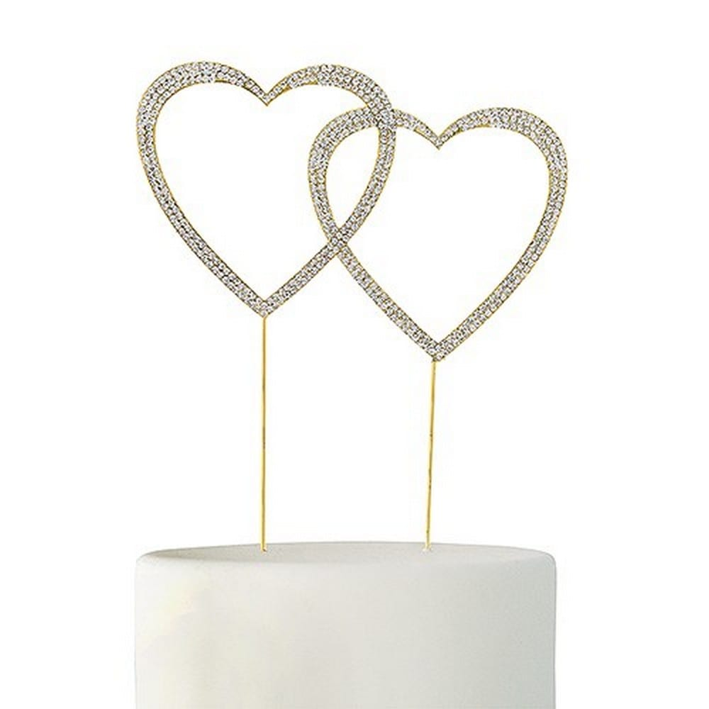Crystal Rhinestone Double Heart Cake Topper | $56