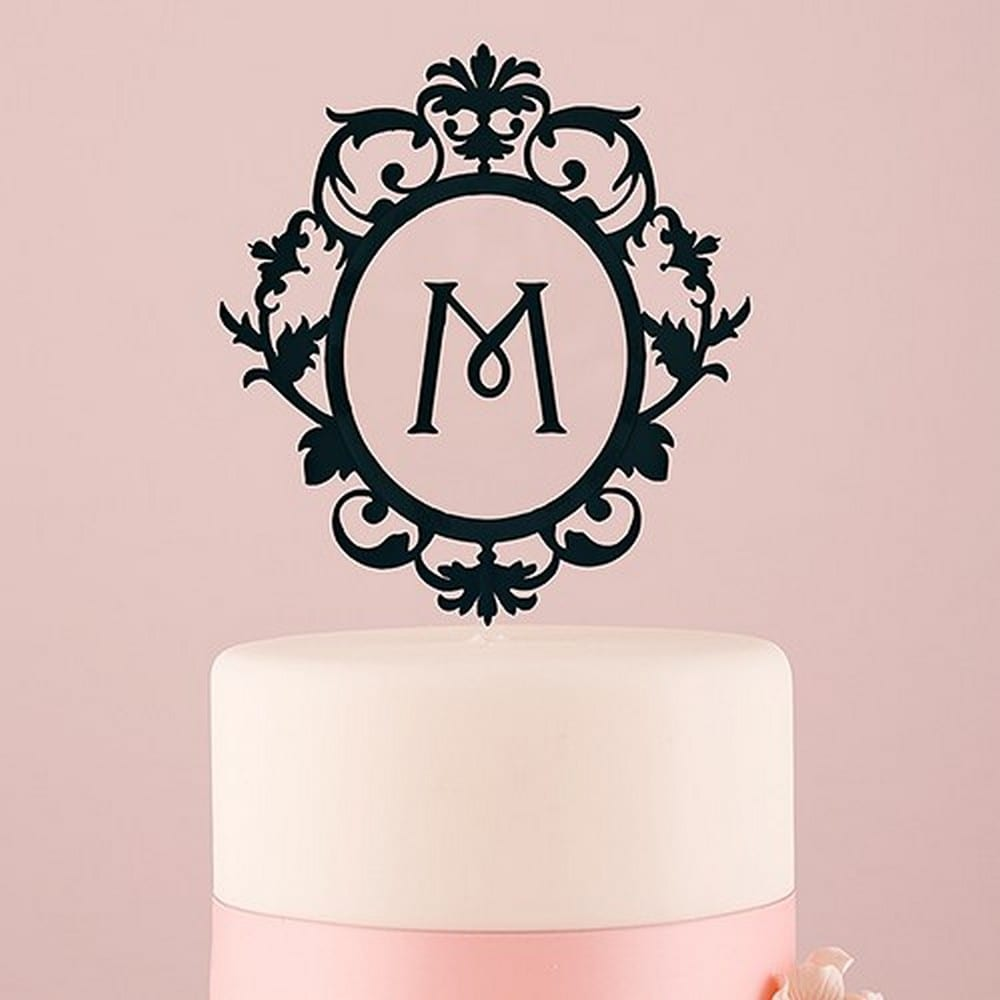 Classic Floating Monogram Black Acrylic Cake Topper | $38