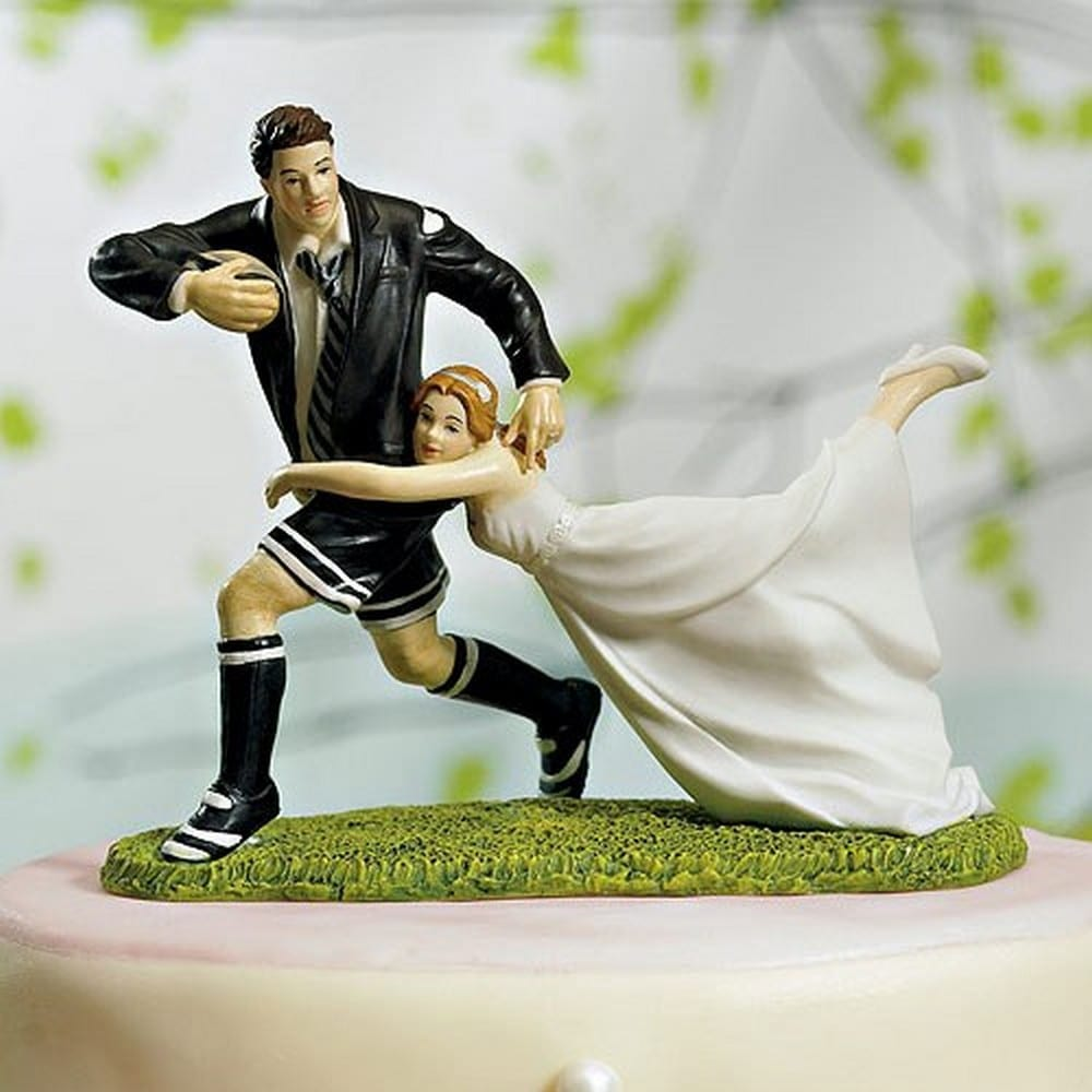 Love Tackle Bride And Groom Cake Topper | $75