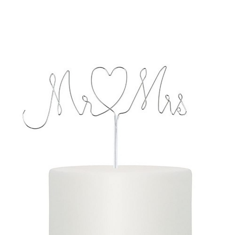 Mr. & Mrs. Twisted Wire Cake Topper | $20