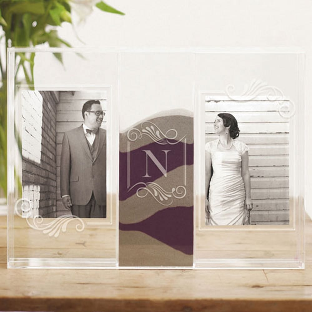 """Clearly Love"" Sand Ceremony Shadow Box With Photo Frames 