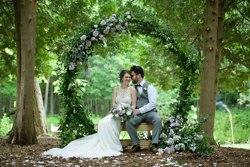 Should I postpone my wedding photo of couple sitting in a green round arch