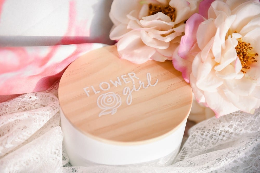 Large Personalized Round Wooden Jewelry Box - Flower Girl Modern Rose Print | $19