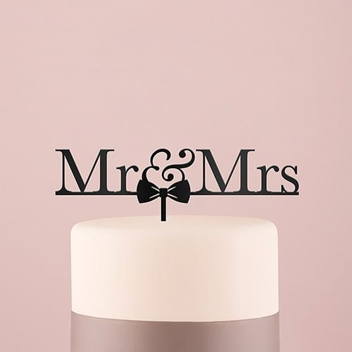 Mr & Mrs Bow Tie Acrylic Cake Topper - Black | $22.50