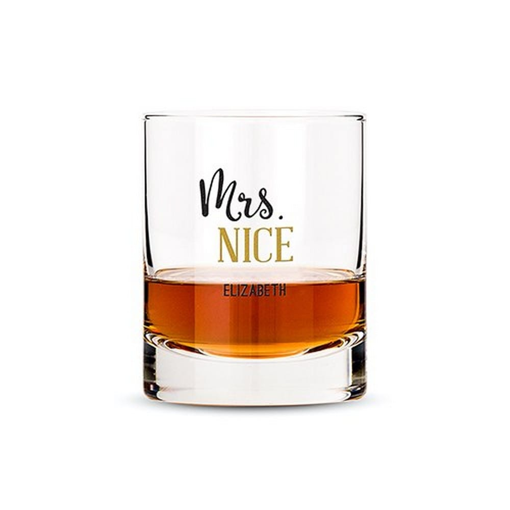 Personalized Whiskey Glasses With Mrs. Nice Print | $12.50