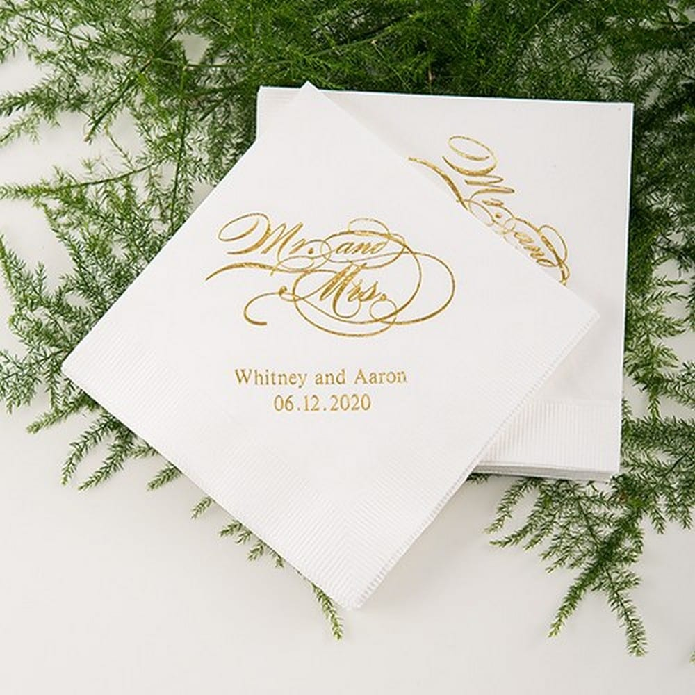 Mr And Mrs Script Printed Paper Napkins $30 for pkg of 100 cocktail size