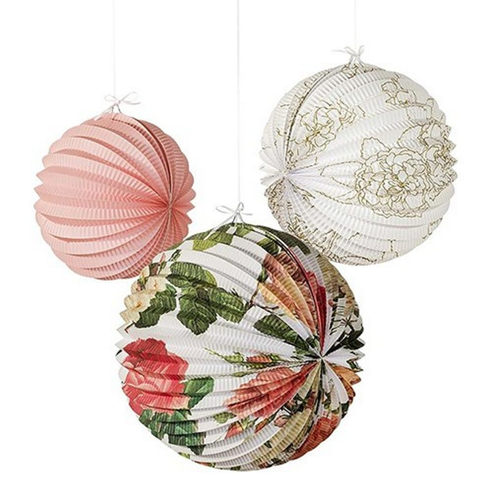 Floral Print Paper Lanterns Assortment | $24 for a set of 3