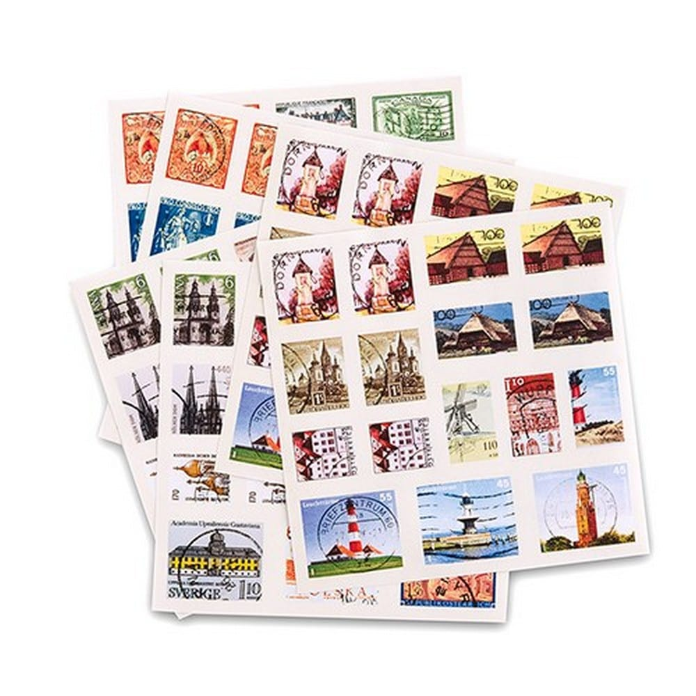 """Global Destinations"" Postage Stamp Sticker Assortment 
