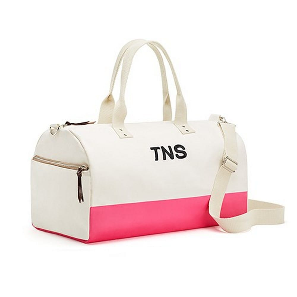 Large Personalized Weekender Cotton Canvas Fabric Tote Bag- Hot Pink | $60
