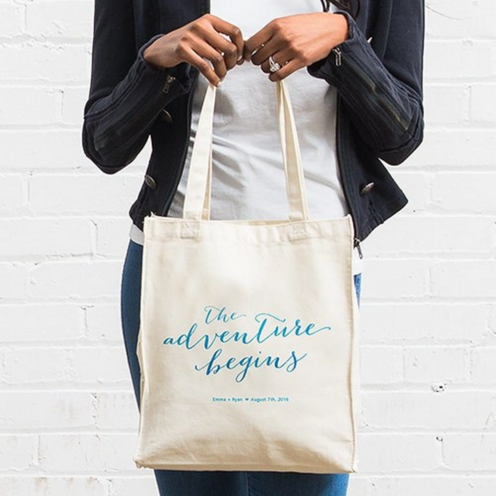 Personalized White Cotton Canvas Tote Bag- The Adventure Begins | starting at $14 + $5.95 personalization fee