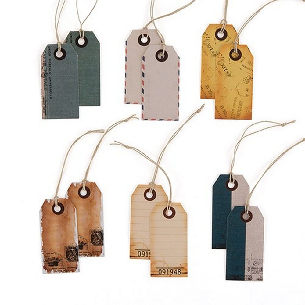 """Well Traveled"" Vintage Paper Shipping Tags With Twine Ties 