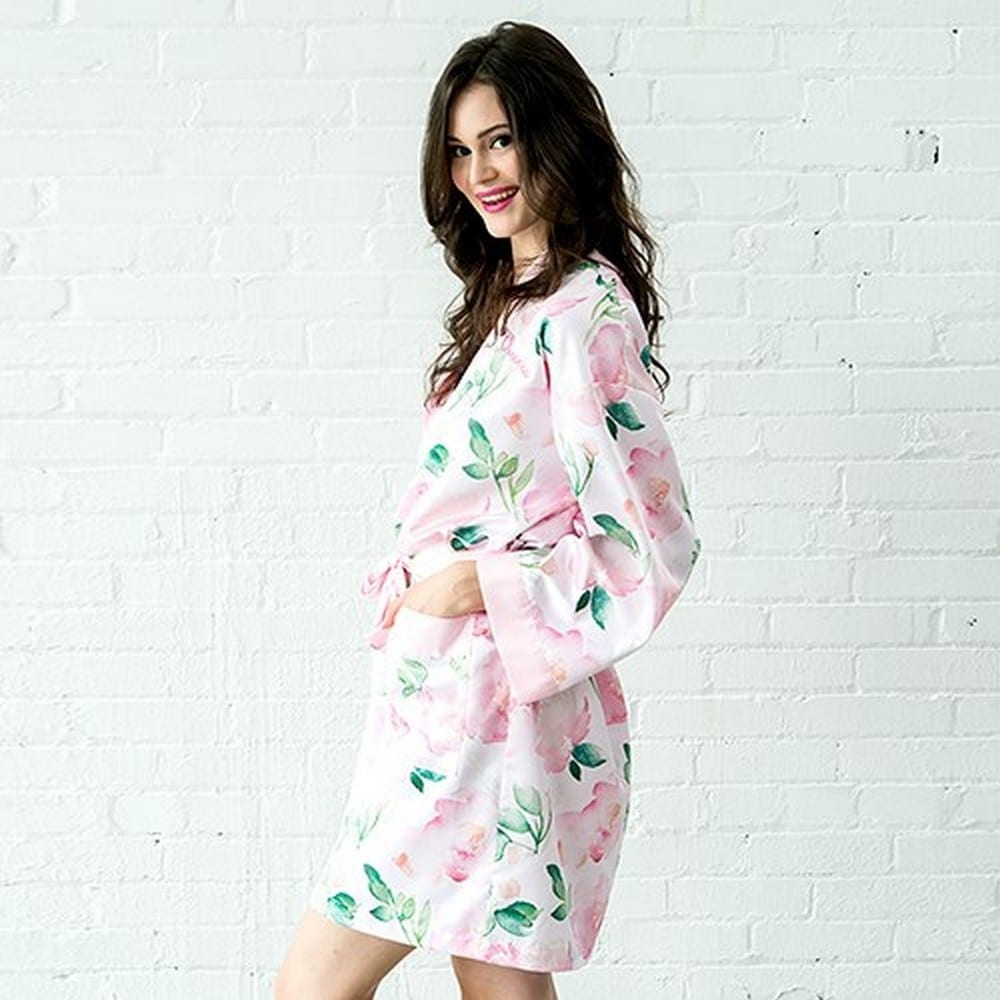 Women's Personalized Embroidered Floral Satin Robe With Pockets- Light Pink | starts at $40 + $5.95 personalization fee