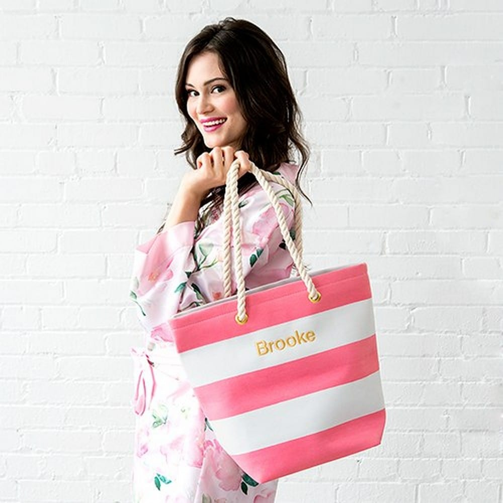 Personalized Large Bliss Striped Cotton Canvas Fabric Tote Bag- Pink And White | $25 + $5.95 personalization fee