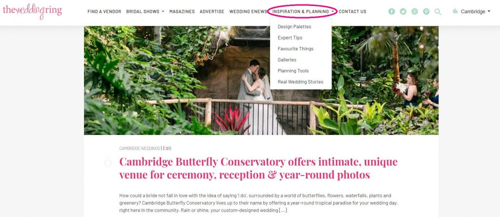 your guide to the ring cambridge butterfly bride and groom kissing under the waterfall