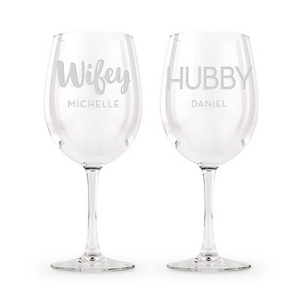 Large Personalized Stemmed Wine Glass Set – Wifey And Hubby Engraving | $25