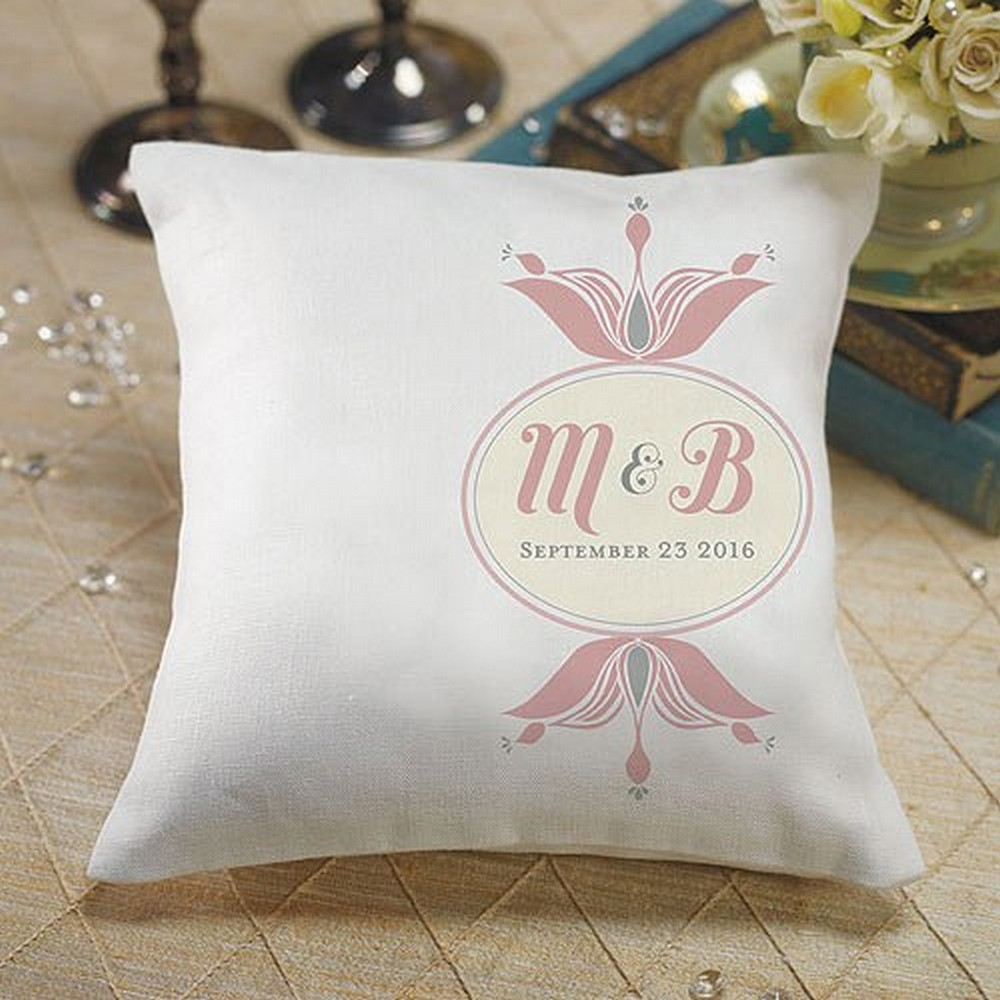 """Notable"" Personalized Ring Pillow With Double Floral Monogram 