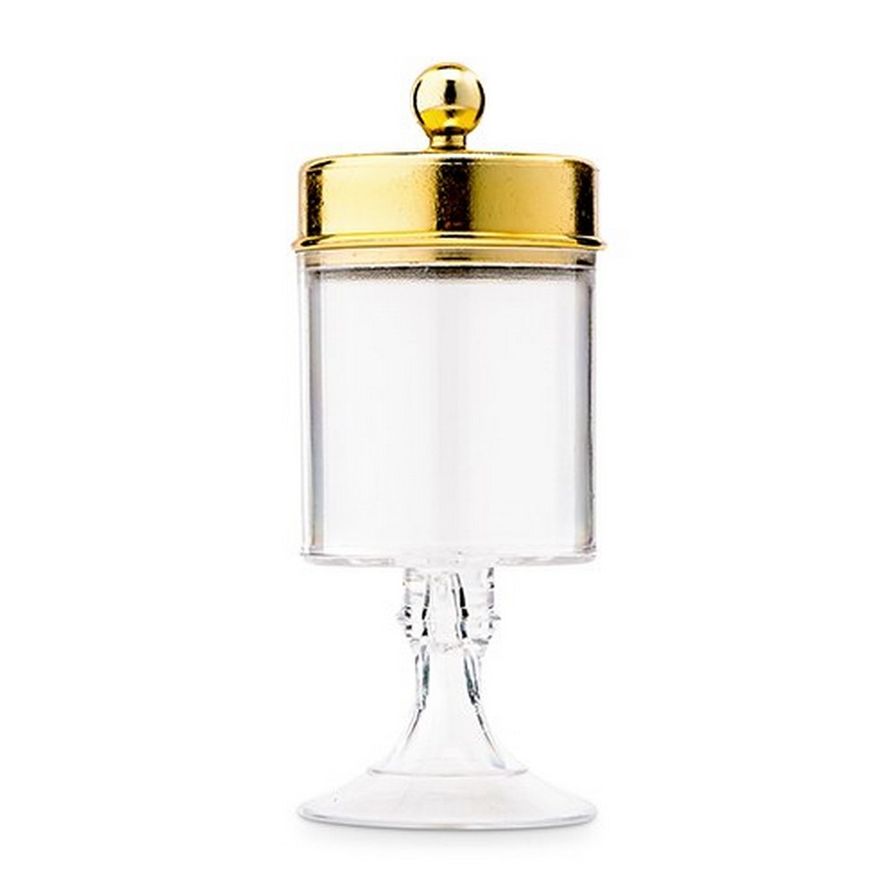 Small Clear Plastic Wedding Favor Container Set - Cylinder Cup With Gold Lid | $1.95 each