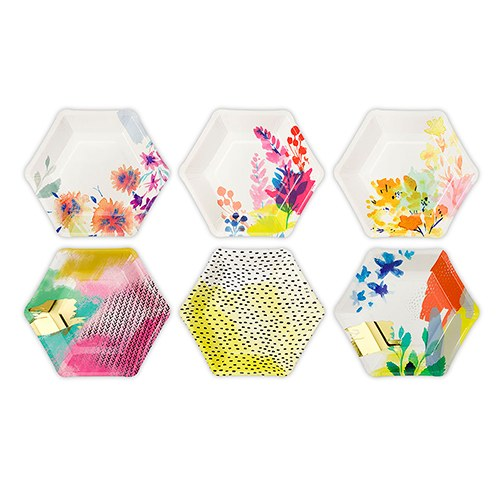 Bright Florals Hexagon Paper Plates | $10 for 12