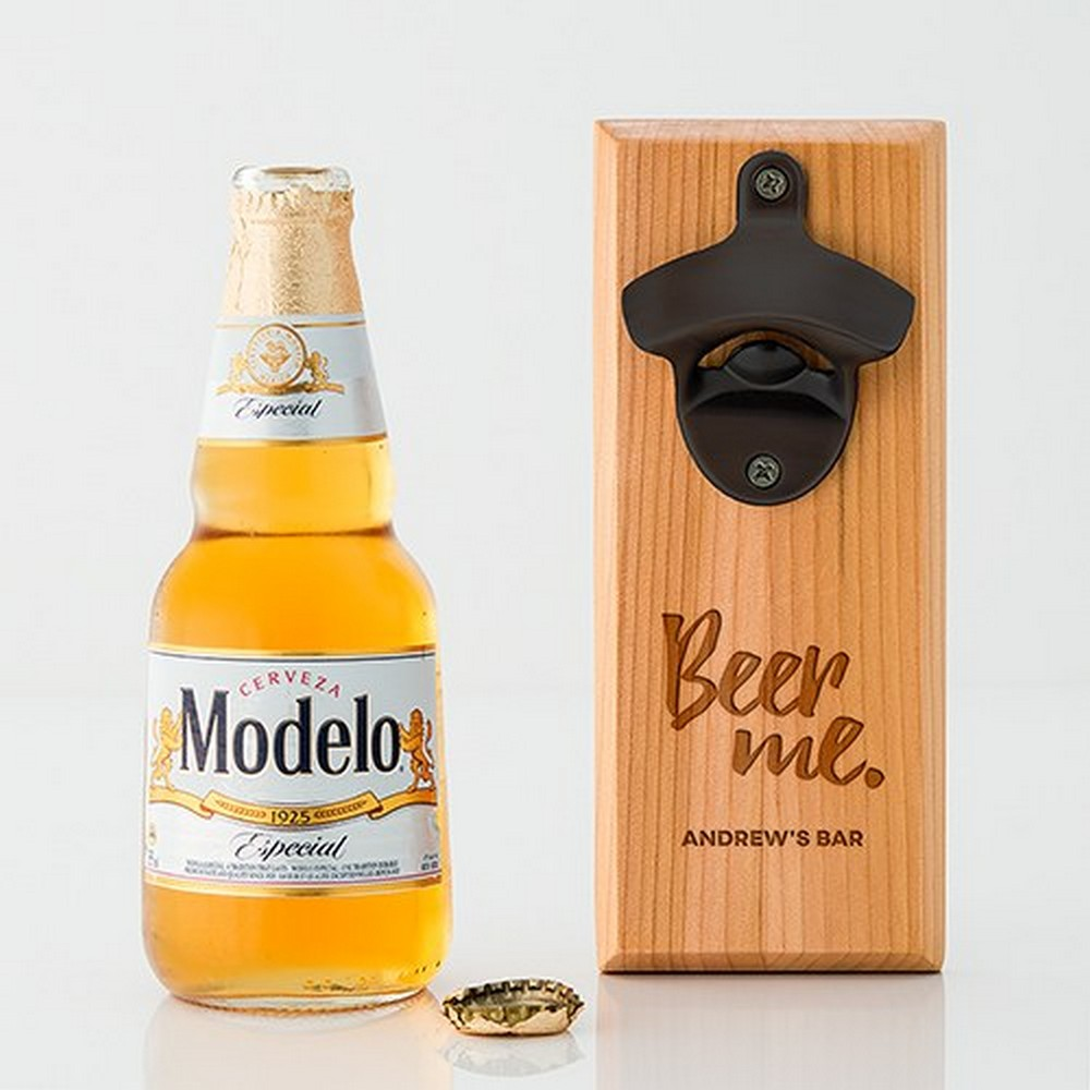 Cedar Wood Wall Mount Bottle Opener - Beer Me Etching | $38