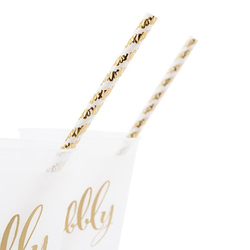 Gold Foil X&Os Paper Drinking Straws | $6 for 25
