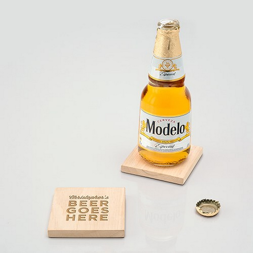 Natural Wood Coaster With Built-in Bottle Opener - Beer Goes Here Etching | $19 for a set of 2