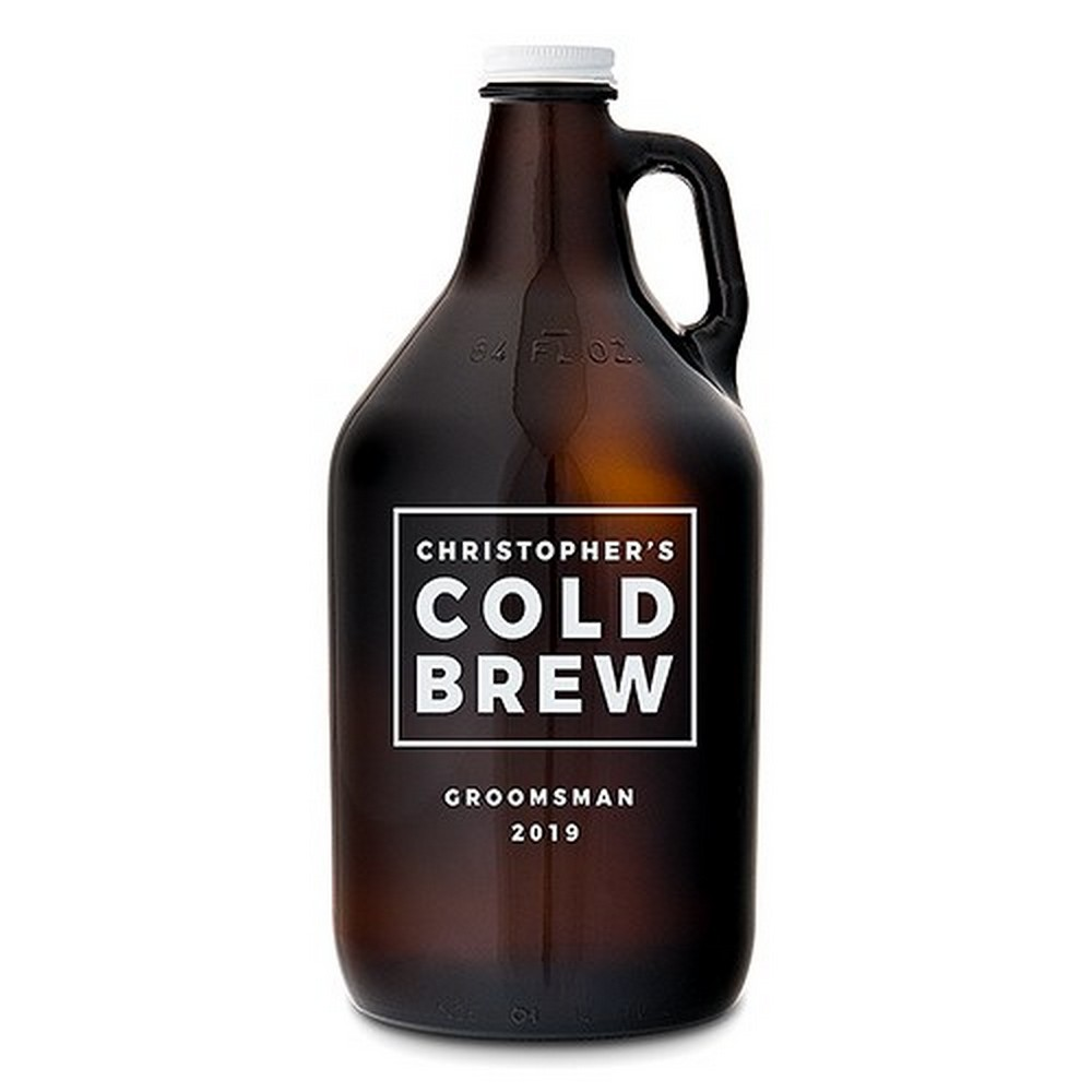 Personalized Amber Glass Beer Growler - Cold Brew Print | $32.50