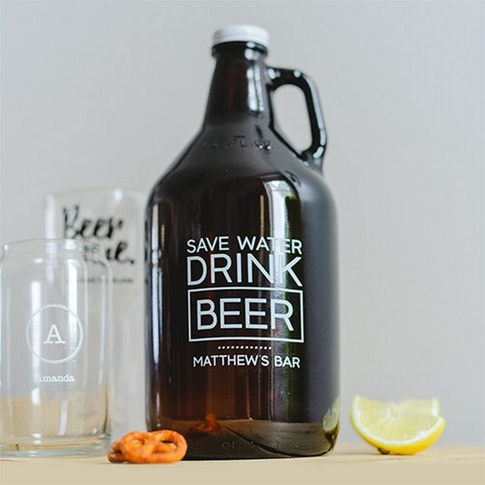 Personalized Glass Beer Growler - Drink Beer Print | $32.50