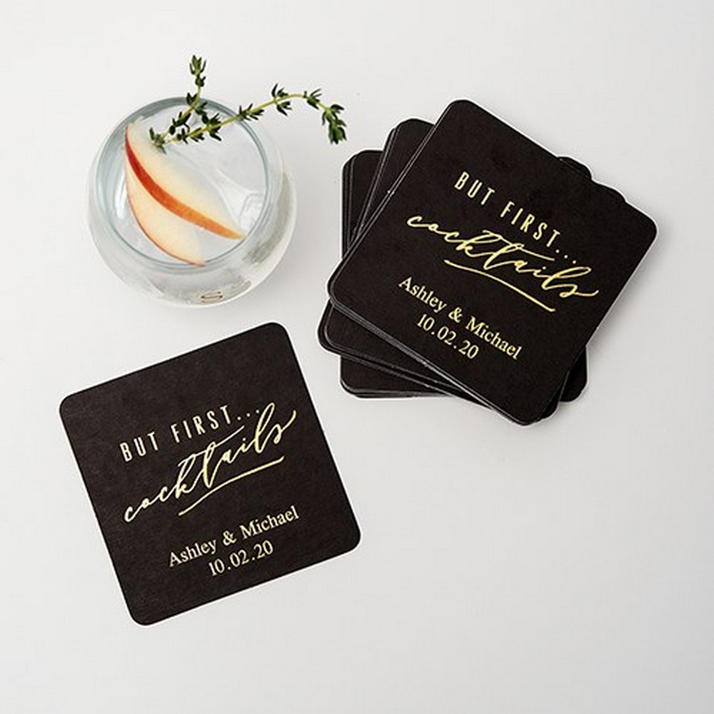 Personalized Paper Coasters - Square | $38 for 100 + $15.95 personalization fee