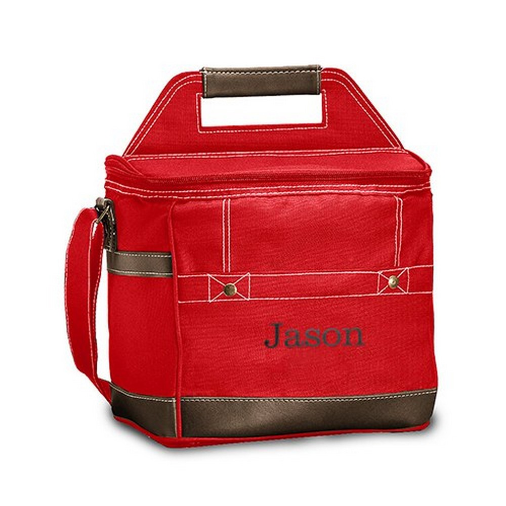 Personalized Red Insulated Cooler Bag – Monogram Embroidered | $42 + $6.95 personalization fee