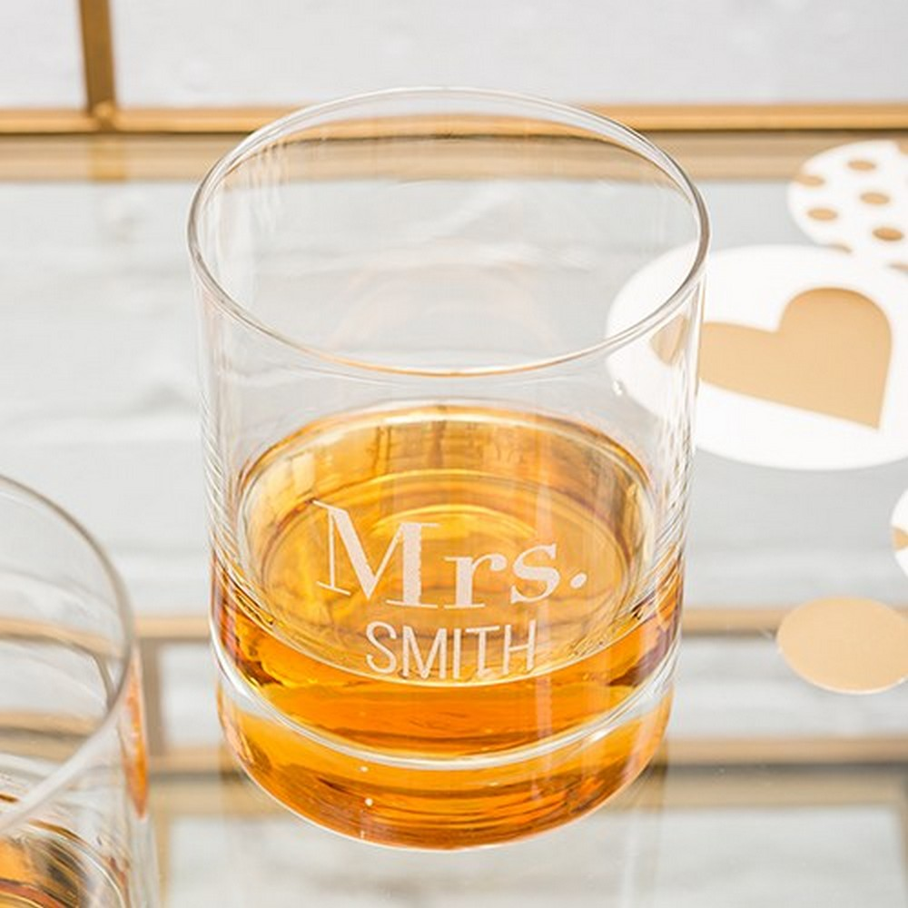 Personalized Whiskey Glasses With Two Line Text Etching | $12.50 plus $5.95 personalization fee