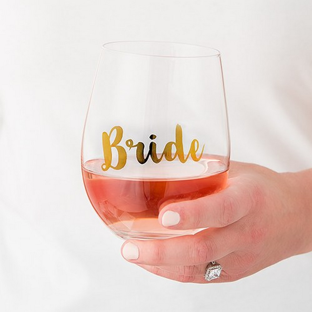Stemless Toasting Wine Glass Gift For Wedding Party - Bride | $8.80