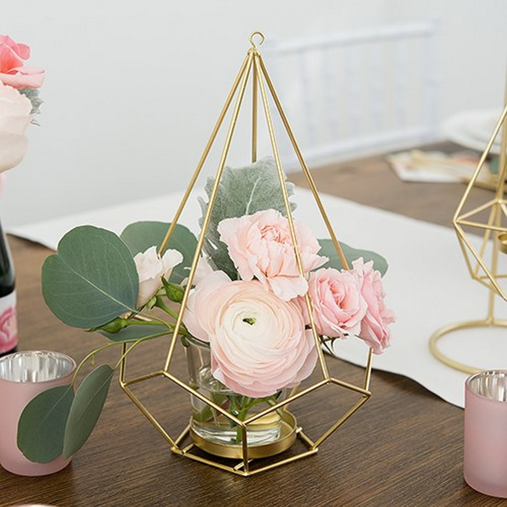 Tall Gold Geometric Candle Or Flower Centerpiece | $25 for 2