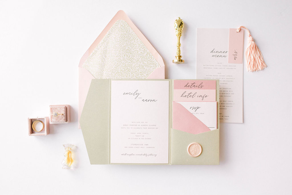 pink, peach and green invitation set