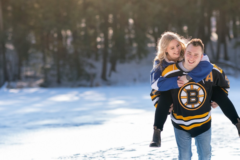 hayley and jason's love story snowy winter hockey themed engagement Wedding photographer A Nash Photograph