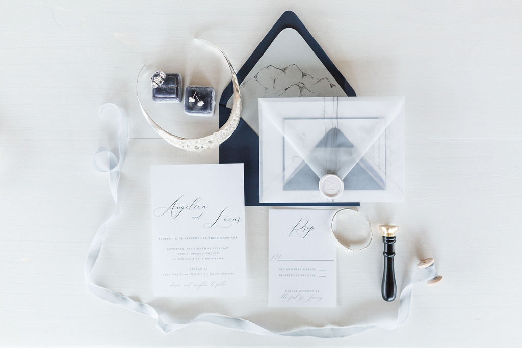 whimsical blue and grey invitation suite