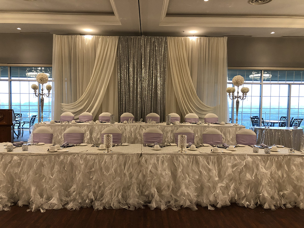 two teir wedding head table in lavender silver and white now & always