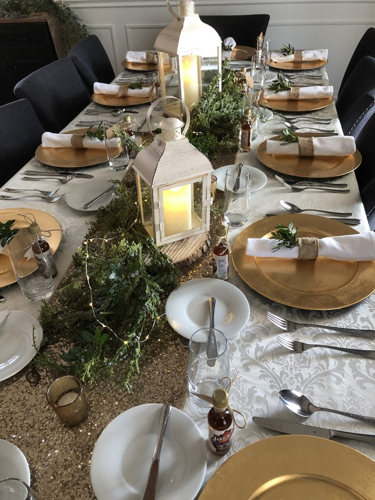 gold, white and green wedding table decor now & always
