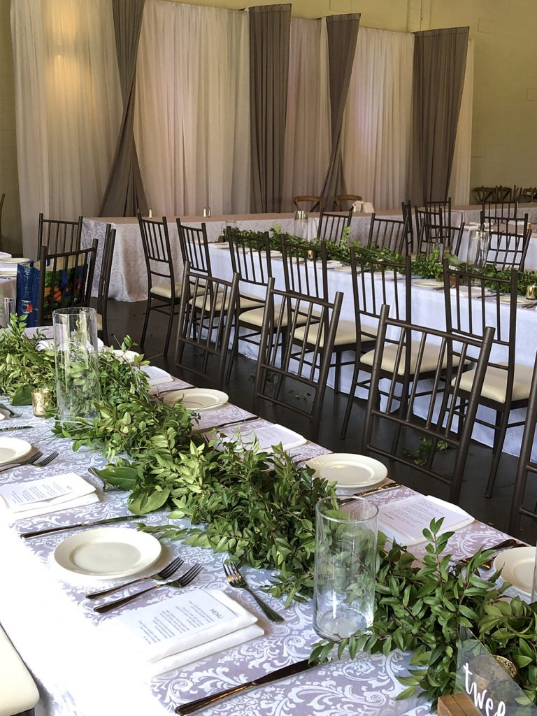 long table wedding decor with greenery now & always