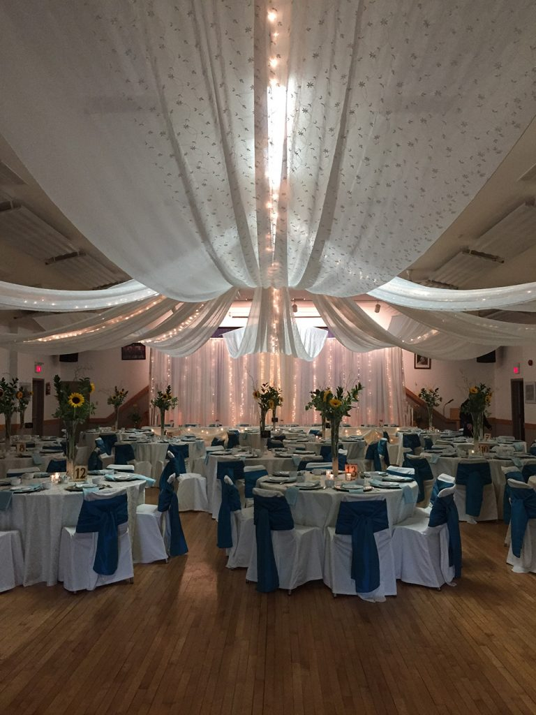 wedding reception decor with ceiling canopy now& always