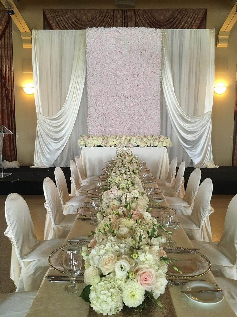 long table wedding decor in whites and creams now & always