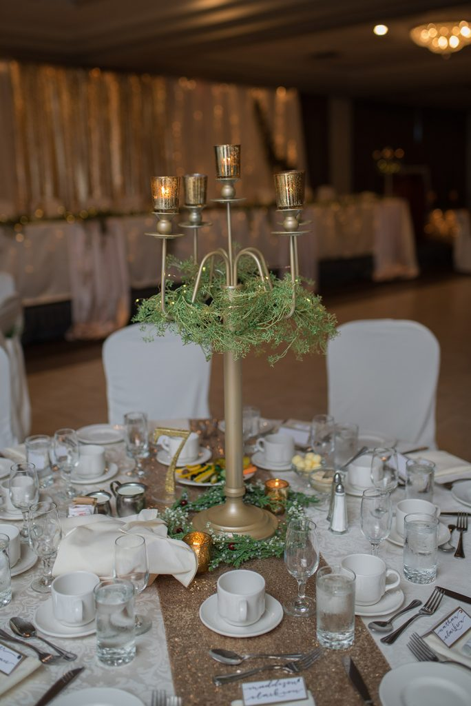 tall candelabra on wedding guest table now & always