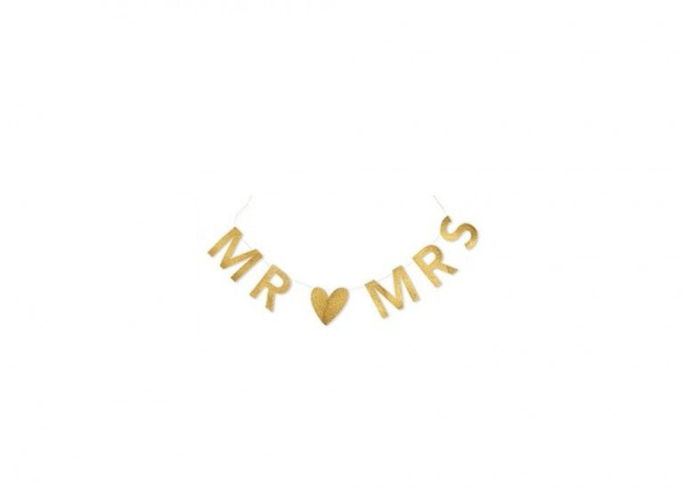 MR & MRS Gold Glitter  Garland $7