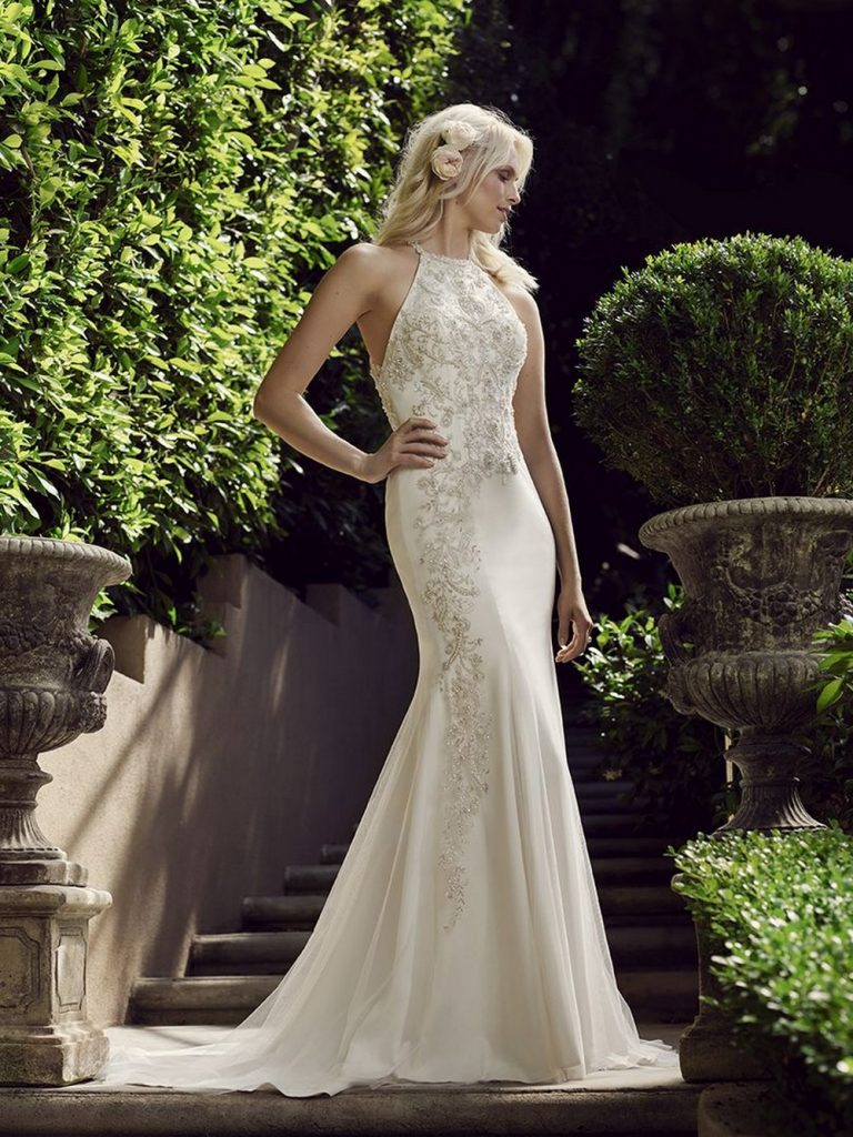 The halter neckline is an option for girls who want a more modern take on their wedding gown without being revealing.